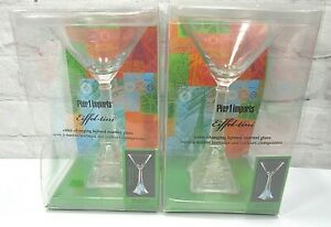 Pier 1 Imports Eiffel-tini Martini Glasses color changing light up Set of 2-NEW