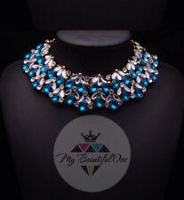 Moda Colgante Cadena Cristal Perla Gargantilla Gruesa declaración babero Collar Joyería
