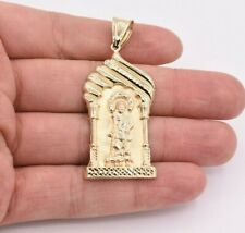 "2 1/2"" Saint Lazarus Jesus Pendant Diamond Cut Real 10K Yellow Gold"