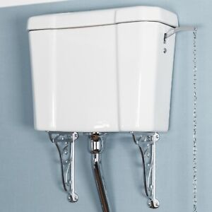 Traditional Cloakroom High Level Toilet Cistern Only White Ceramic Bathroom