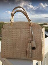 Brahmin Sloane Metallic Gold Embossed Leather Satchel La Scala Handbag W/wallet