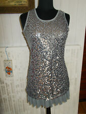 ROBE charleston sans manches MOLLY BRACKEN T. S 36-38 gris stretch à paillettes