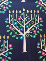 RPFMM60V Tree Of Light Star David Hanukkah Menorah Chanukah Cotton Quilt Fabric