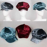 Women Grey Velvet Newsboy Hat Flat Cap Baker Boy Cabbie Gatsby Retro Retro New