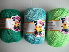 Baby Sheep  6-ply silky baby yarn, greens, mixed lot of 3 (216 yds each)