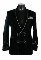 Men Green Smoking Jacket Elegant Luxury Designer Party Wear Blazers Coats UK
