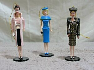 1995 Ashton-Drake Heirloom Ornaments Club - Mattel Classic Barbie 3 PC SET #7134