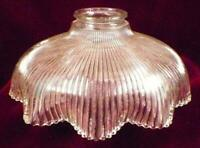 Art Deco Lamp Shade Clear Glass Flower Ribs Table Stand Ceiling Vintage #102