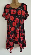 NEW Size 16-24 Poppy Print Red & Black Hanky Hem Tunic Top Blouse Floral Summer