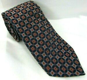 "IKE BEHAR Mens Self Tipped Silk Tie Geometric Floral Link 3 7/8""x 60"" Blue USA"