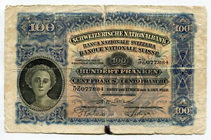 SWITZERLAND (P35e) 100 Francs 1928 F-