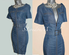 Karen Millen UK 10 Soft Blue Denim Front Zip Short Sleeve Casual Dress EU 38