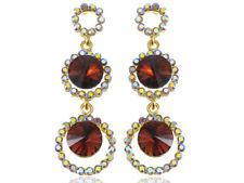Retro Dark Smoke Tier Orb Gold Fashion Dangle Drop Rhinestone Earrings Gems Gift