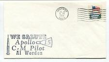 1971 We Salute Apollo 15 CM Pilot Al Worden Jackson Michigan Space Cover
