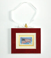 Honoring Veterans Hand Crafted Velvet Framed USA Stamp Christmas Tree Ornament
