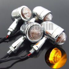 4x Chrome Motorcycle Cafe Racer Turn Signal Bulb Indicators Blinkers Lights