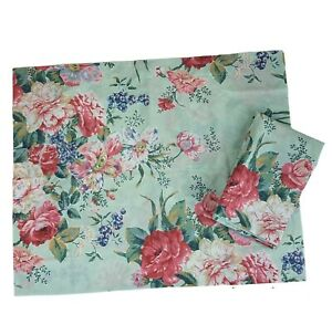 Vintage Wamsutta Pair Pillow Shams Blue Green Pink Roses Standard Cottage USA