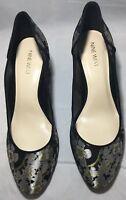"""Women's Nine West Floral Black/Metallic Heels Pumps Shoes Size 8M Heel 3.75"""""""