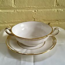 SPODE ENGLAND SHEFFIELD 1 FOOTED SOUP BOWL & SAUCER GOLD TRIM SCALLOPED R568