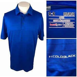 Under Armour Mens Medium Polo ColdBlack Striped Blue Polyester Blend Stretch EUC