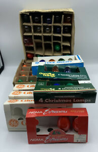 Vintage Christmas Tree Lights C 7 1/2 Over 60 Bulbs GE NOMA Partial Packs TESTED