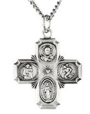 """Medal 7/8"""" Pendant Cross w Chain Sterling Silver .925 Four Way Catholic Scapular"""