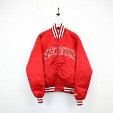Vintage STARTER 90s Wisconsin BADGERS Satin Varsity Jacket Red | Medium