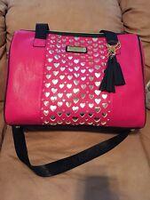 Betsey Johnson Weekender Open Your Heart Fushia Travel Bag Shopper Luggage $168