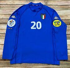 Kappa ITALY Jersey FRANCESCO TOTTI Vtg 2000 EURO CUP Long Sleeve Soccer Blue 2XL