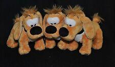 Lot 3 peluche doudou chien Bill DUPUIS Boule & Bill  jaune L 15 cm H 13 cm TTBE