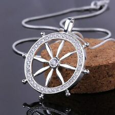 solid charm new Silver Fashion Cute Ladies crystal Zircon Round Necklace jewelry