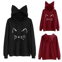 Womens Cat Ear Long Sleeve Hoodie Sweatshirt Hooded Jumper Pullover Tops Blouse