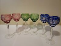 "AJKA MULTI COLOR CASED CUT TO CLEAR CRYSTAL 8 1/4"" WINE GOBLETS Set of 6"
