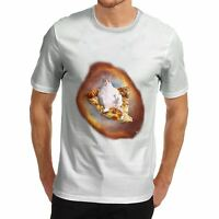 Twisted Envy Men's Space Pizza Cat Funny T-Shirt