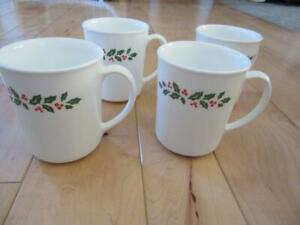 """CORNING CORELLE WINTER HOLLY SET OF FOUR COFFEE MUGS RED BERRIES 3 7/8"""" TALL"""