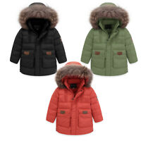 Boy Girl Unisex Insulated Jacket Coat Duck Down Orange Green or Black AGES 4-16
