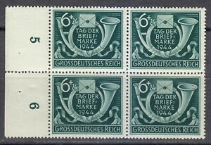 Germany 1944 MNH Mi 904 Sc B288 Post Horn and Letter.Stamp Day.Block of 4 **