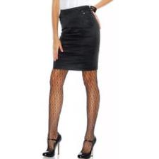 BEBE black satin double vent skirt size 2 slimming pockets USA EUC SISLOU W6