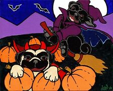FAWN & BLACK PUG HALLOWEEN Signed Dog Pop Art PRINT of Original Painting by VERN