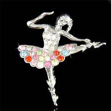 Rainbow BALLERINA made with Swarovski Crystal BALLET DANCER Dance Pin Brooch NEW