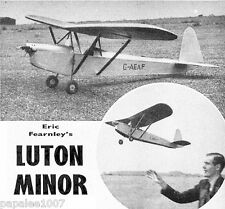 """Model Airplane Plans (FF): LUTON MINOR 1/7 Scale 43""""ws for .5-1cc (.049) Engine"""
