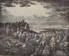 1886 ANTIQUE VINTAGE ART PRINT-War Against Gibeon-Horses-Army-Bible-Heaven-GOD