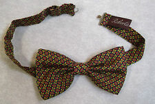 ROBERTA LATTANZI SILK ITALIAN NAVY RED YELLOW GREEN DICKIE BOWTIE BOW TIE NEW