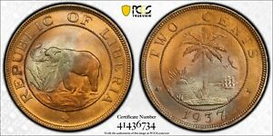 1937 Liberia Two (2) Cents PCGS MS 65 Witter Coin