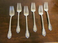 IS REMEMBRANCE Set of 6 Salad Forks 1847 Rogers  Silverplate Flatware Lot C