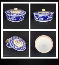 Cama Deruta Antico Hand Painted Blue Floral Italian Casserole Pot Dish