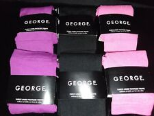 (6)Pair-George-Girls-Size 7 - 10- Fleece Lined- Footless Tights-Diffrent Styles