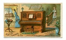 Victorian Trade Card GUILD CHURCH & CO PIANOS parlor scene company info on back
