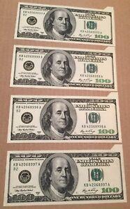 2006 US America Lot of 4 Consecutive $100 Dollar Bill Banknote Serious Cut Error