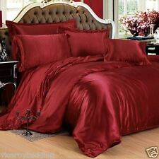 7pc Satin Bedding Sets = Duvet Cover + Fitted Sheet + 4 Pillow cases + Cushion